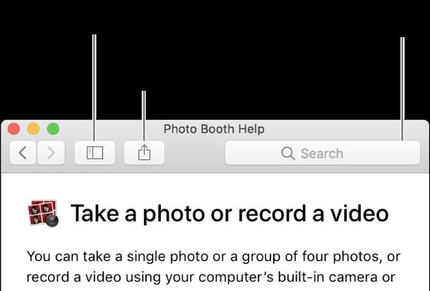 Uma janela Ajuda mostrando o botão na barra lateral que, ao ser clicado, mostra mais temas, o botão para compartilhar um tema e o campo para buscar ajuda no Mac.