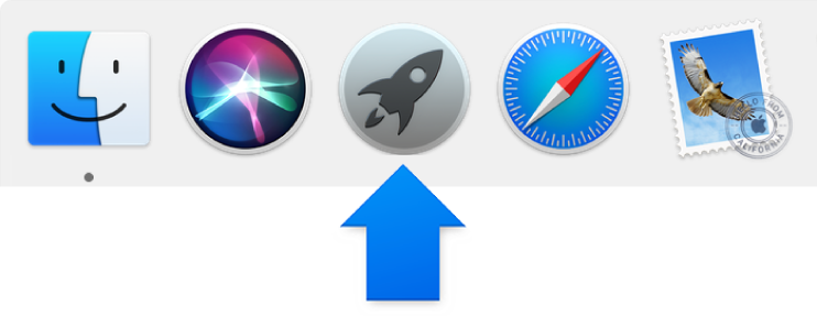 Uma seta azul a apontar para o ícone do Launchpad na Dock.