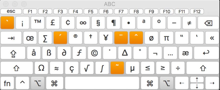 A Disposição do teclado com a disposição ABC a mostrar cinco teclas auxiliares realçadas.