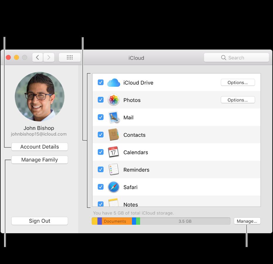 As preferências de iCloud com todas as funcionalidades selecionadas.