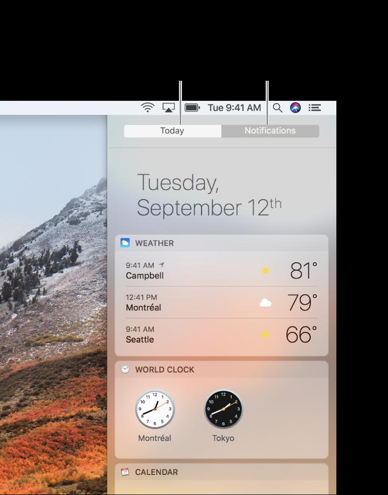 A vista Hoje a apresentar a meteorologia e os relógios. Clique no separador Notificações para ver as notificações que estejam pendentes.