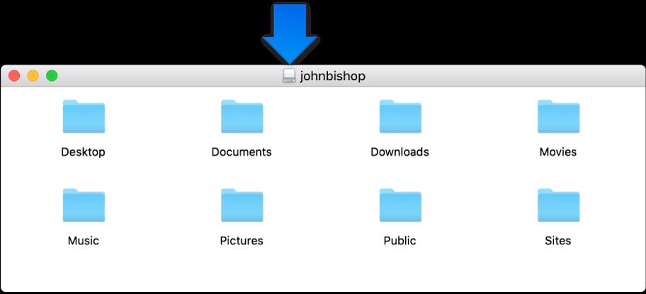 O ícone pequeno na barra de título da janela da imagem de disco relativa à pasta pessoal do utilizador apagado.