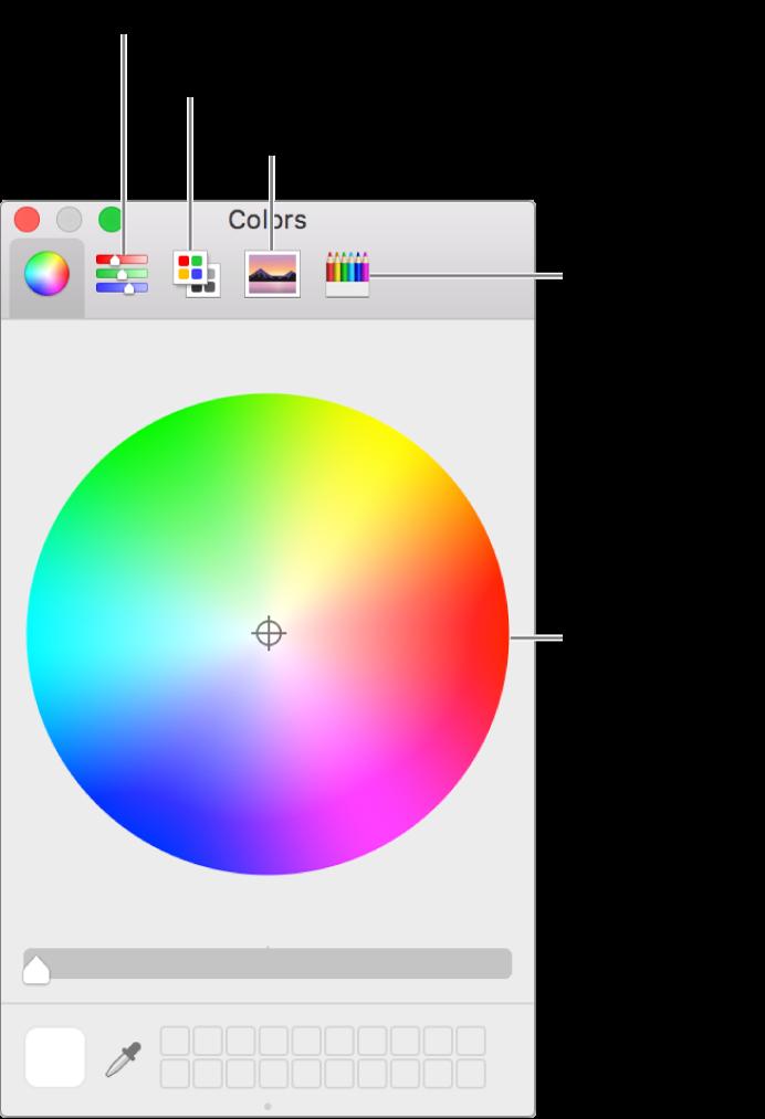A janela Cores mostra os botões dos niveladores de cor, das paletas de cores, das paletas de imagens e lápis na barra de ferramentas e na roda de cores.