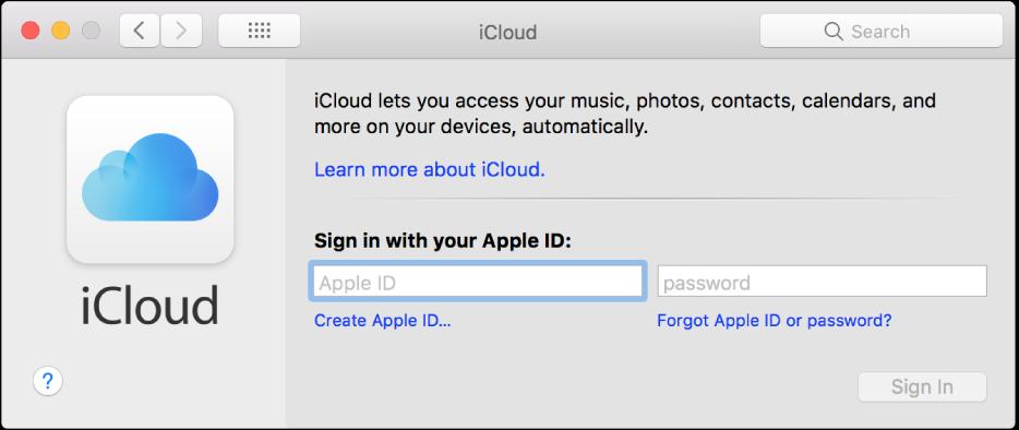 Preferințe iCloud, sistem pregătit pentru introducerea unui nume și a unei parole pentru ID-ul Apple.
