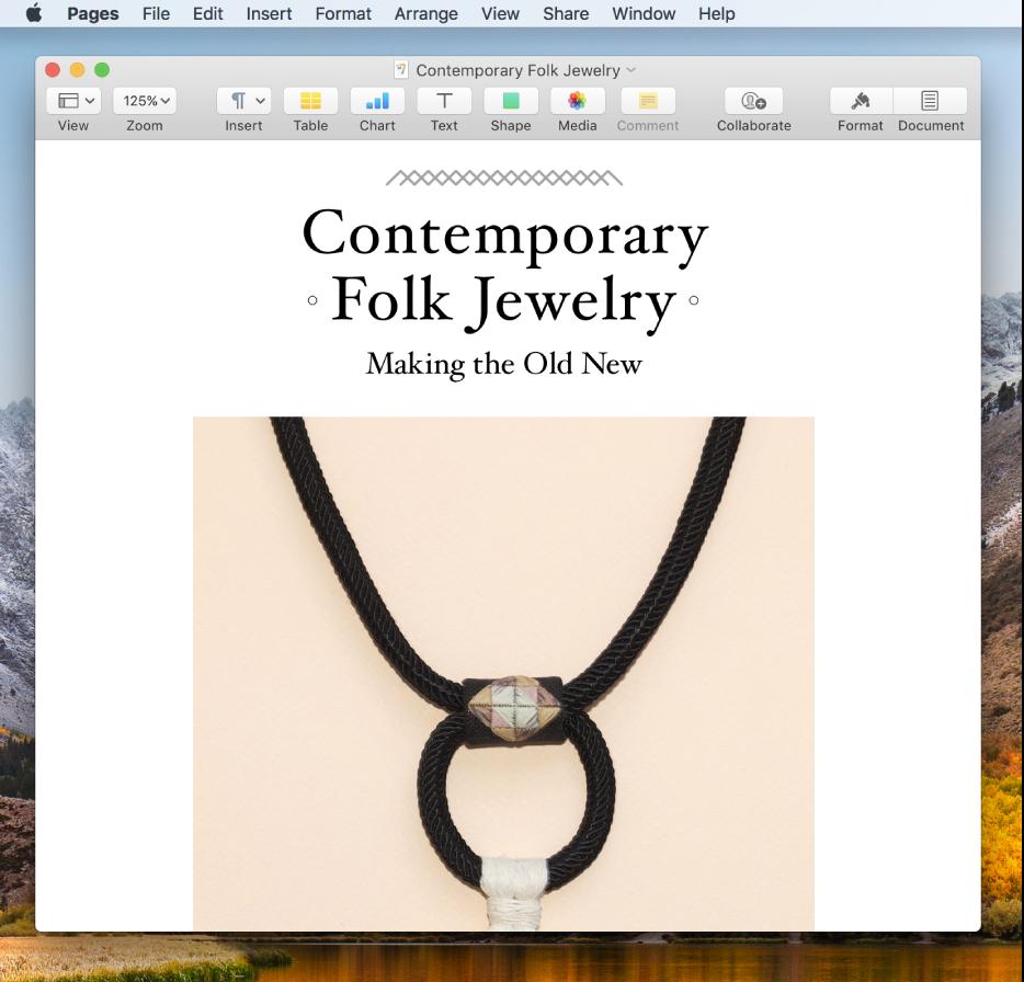 Un document din aplicația Pages pe desktop.