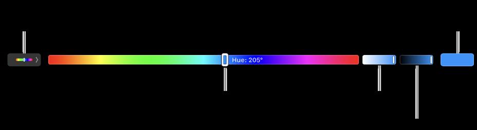 Touch Bar afișând glisoarele de nuanță, saturație și luminozitate pentru modelul HSB. La capătul din stânga se află butonul pentru afișarea tuturor profilurilor; în dreapta, butonul pentru salvarea unei culori personalizate.