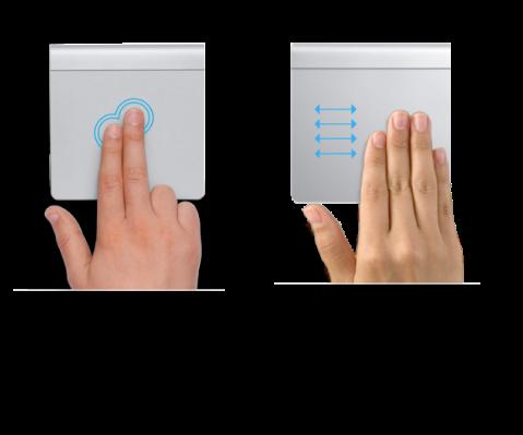 Exemple de gesturi de trackpad pentru apropiere și depărtare pe o pagină web și deplasare între aplicații pe tot ecranul.