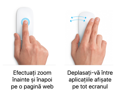 Exemple de gesturi de maus pentru apropiere și depărtare pe o pagină web și deplasare între aplicații pe tot ecranul.