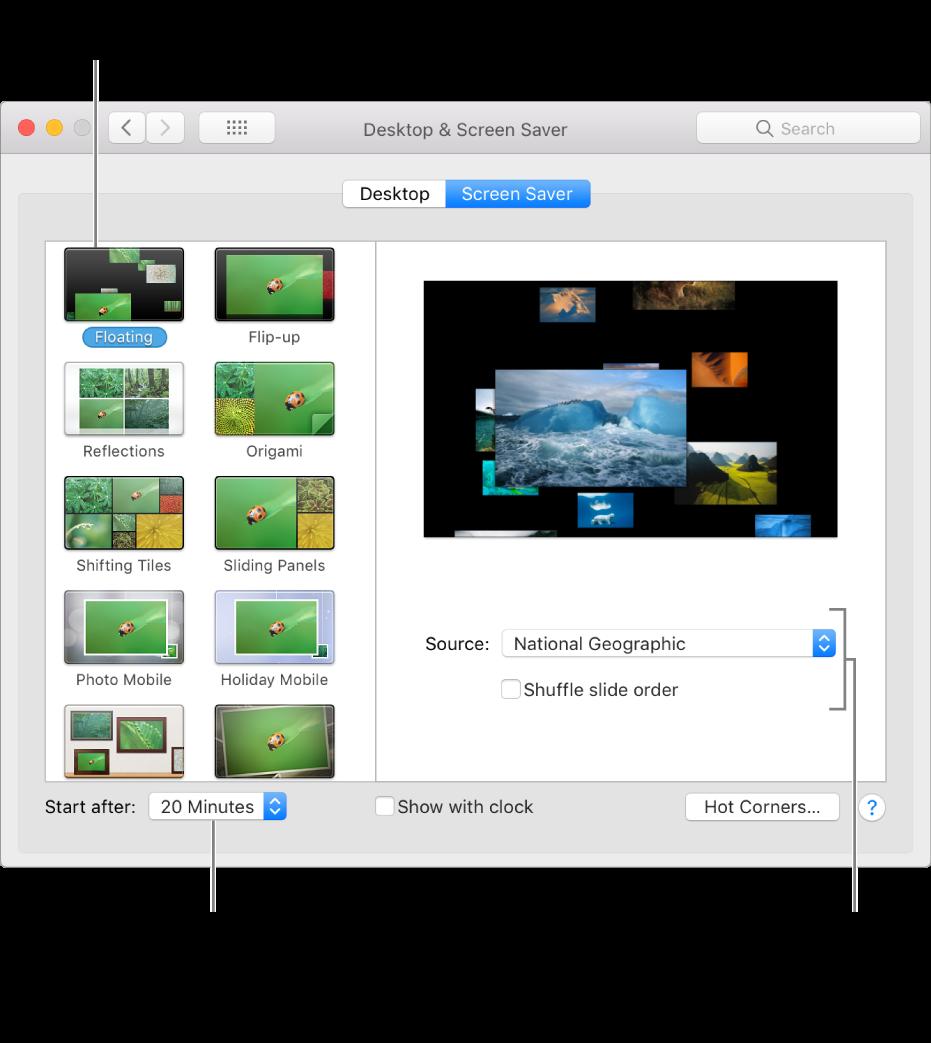 Panoul Screensaver din Preferințe sistem.