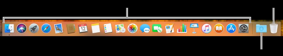 Панель Dock со значками программ, значком стека загрузок и значком Корзины