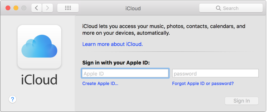 Настройки iCloud перед вводом Apple ID и пароля.