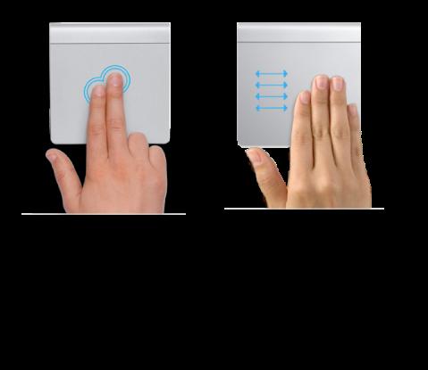 Примеры жестов трекпада для увеличения и уменьшения веб-страницы и для переключения между программами, работающими в полноэкранном режиме.