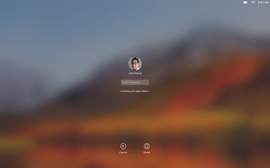 Экран автоматической разблокировки: в центре экрана отображается сообщение о том, что Mac разблокируется при помощи Apple Watch.