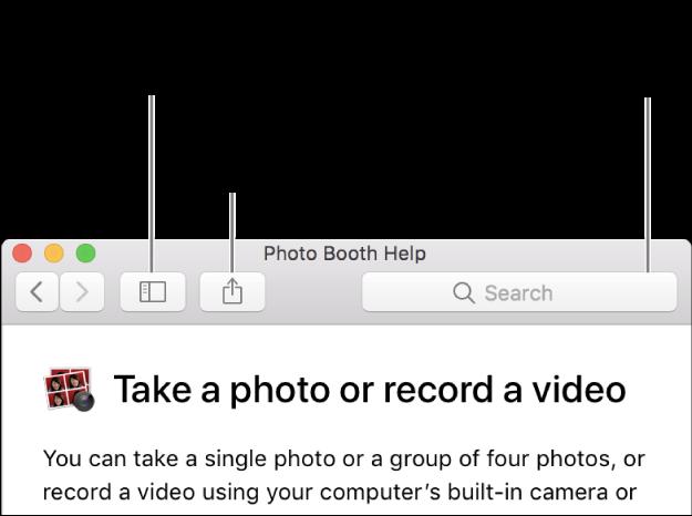 Окно справки, в котором показана кнопка на панели инструментов для отображения дополнительных статей, кнопка для передачи темы и поле поиска для поиска справочной информации на Mac.