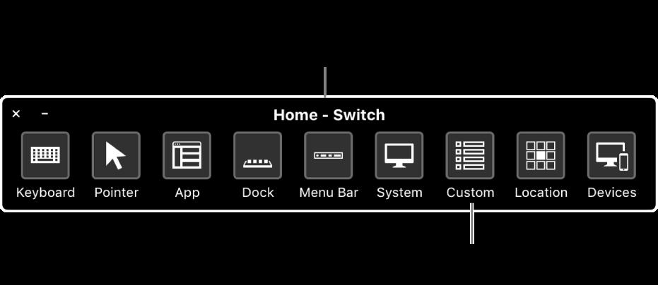 Pomocou domovského panela funkcie Switch Control môžete emulovať hardvér azískať prístup kužívateľskému rozhraniu. Na špecializované využitie môžu byť dostupné vlastné panely.