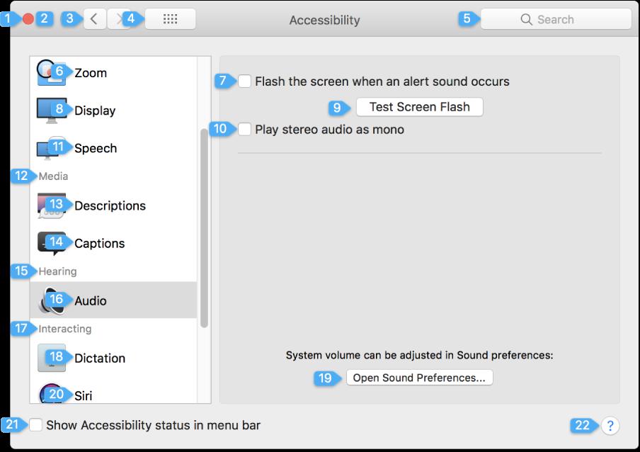 Panel nastavení so zobrazenými číslami vedľa jednotlivých prvkov užívateľského rozhrania, sktorými možno pracovať.