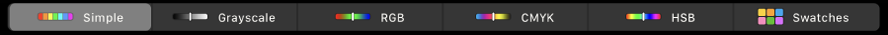 Touch Bar zobrazujúci farebné modely (zľava doprava) – Jednoduchý, Odtiene sivej, RGB, CMYK aHSB. Vpravo sa nachádza tlačidlo Vzorkovníky.