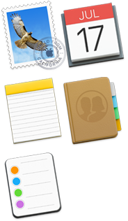Ikony funkcií Mail, Kalendár, Poznámky, Kontakty a Pripomienky