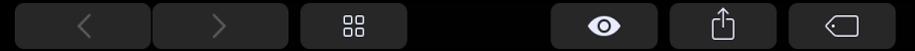 TouchBar med knappar som hör till Finder, till exempel delningsknappen.