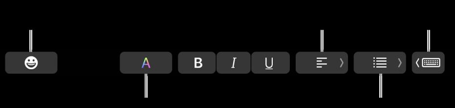 TouchBar med knappar från programmet Mail, bland annat (från vänster till höger): emoji, färger, fetstil, kursiv, understrykning, justering, listor och skrivförslag.