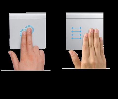 ตัวอย่างของท่าทางแทร็คแพดสำหรับซูมเข้าหรือซูมออกหน้าเว็บและเลื่อนระหว่างแอพแบบเต็มหน้าจอ