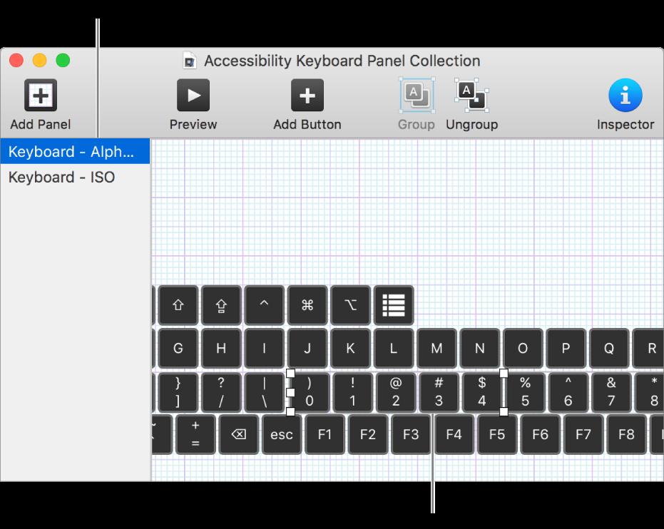 ส่วนหนึ่งของหน้าต่างคอลเลกชั่นแผง ซึ่งแสดงรายการแผงแป้นพิมพ์ทางด้านซ้าย รวมทั้งปุ่มกดและกลุ่มอยู่ในแผงทางด้านขวา