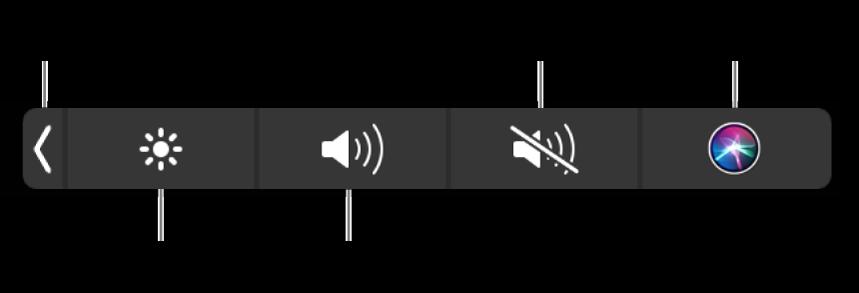 Control Strip ที่ยุบอยู่จะมีปุ่มต่างๆ เรียงจากซ้ายไปขวาดังนี้ ปุ่มสำหรับขยาย Control Strip ปุ่มสำหรับเพิ่มหรือลดความสว่างจอแสดงผลและความดัง ปุ่มสำหรับปิดเสียงหรือเลิกปิดเสียง และปุ่มถาม Siri
