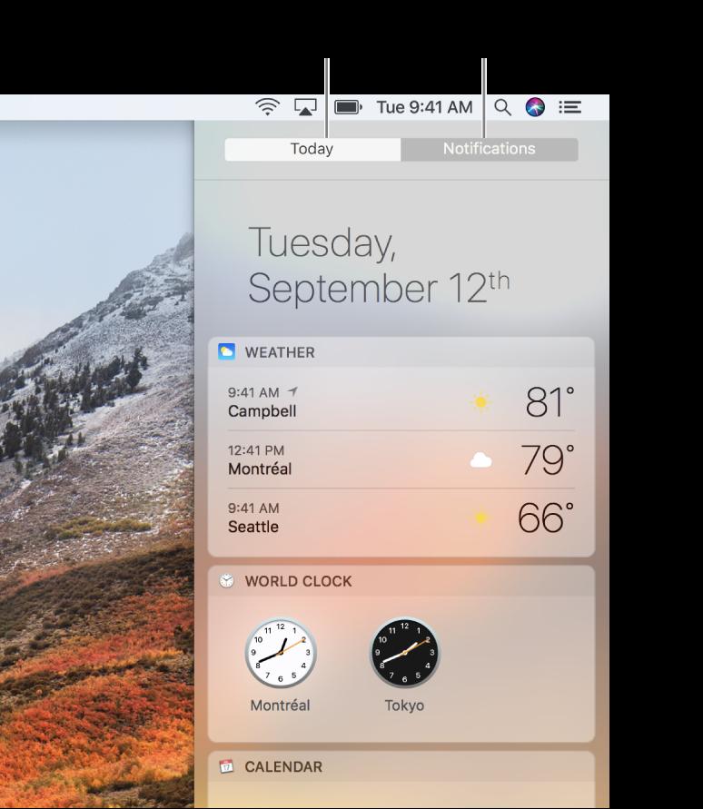 มุมมองวันนี้ที่กำลังแสดงสภาพอากาศและนาฬิกาโลกคลิกแถบการแจ้งเตือนเพื่อดูการแจ้งเตือนที่คุณพลาดไป