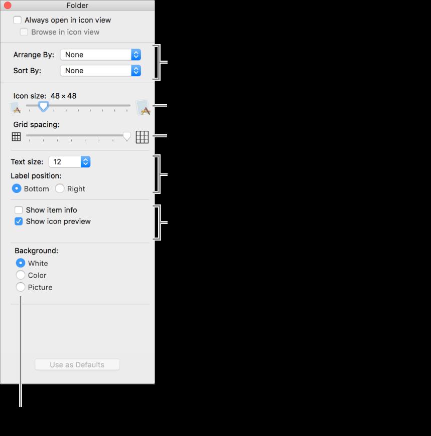 หน้าต่างที่แสดงรายการตัวเลือกมุมมองไอคอน