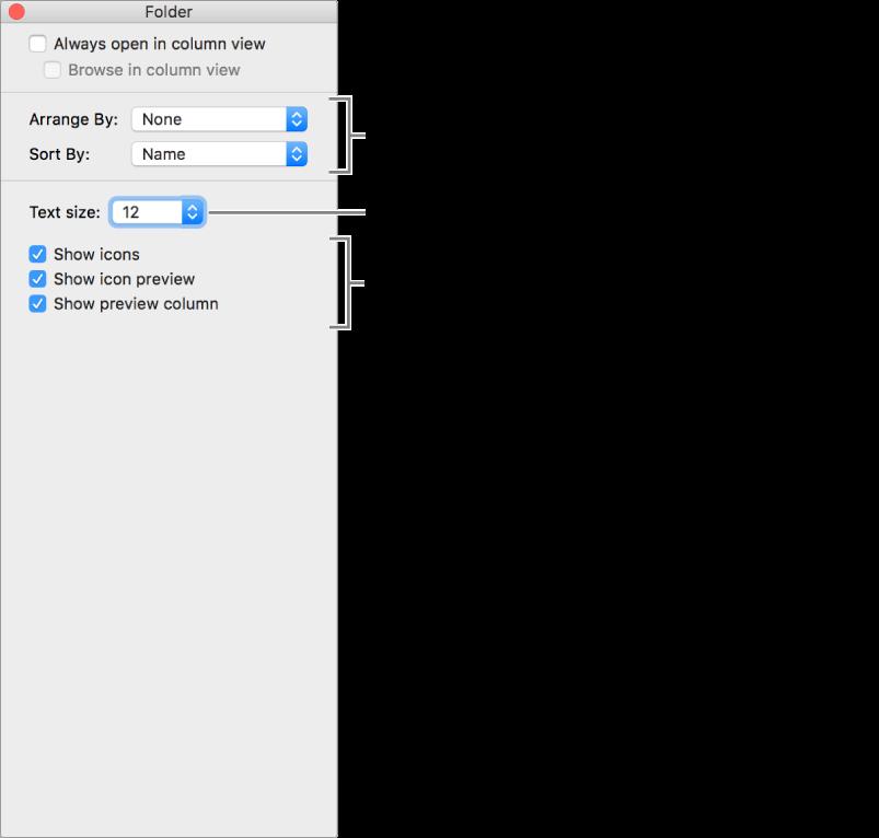 หน้าต่างที่แสดงรายการตัวเลือกมุมมองคอลัมน์