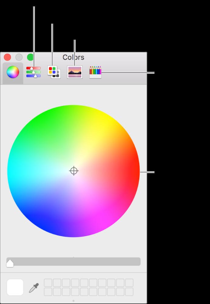 Renkler penceresi; araç çubuğunda Renk sürgüleri, Renk paletleri, Görüntü paletleri ve Kalemler düğmelerini ve Renk tekerini gösterir.