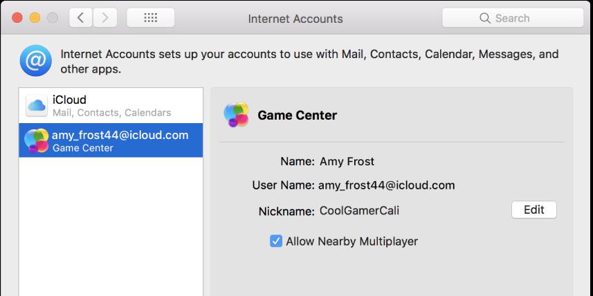 """""""互联网帐户""""中的 Game Center 帐户。"""