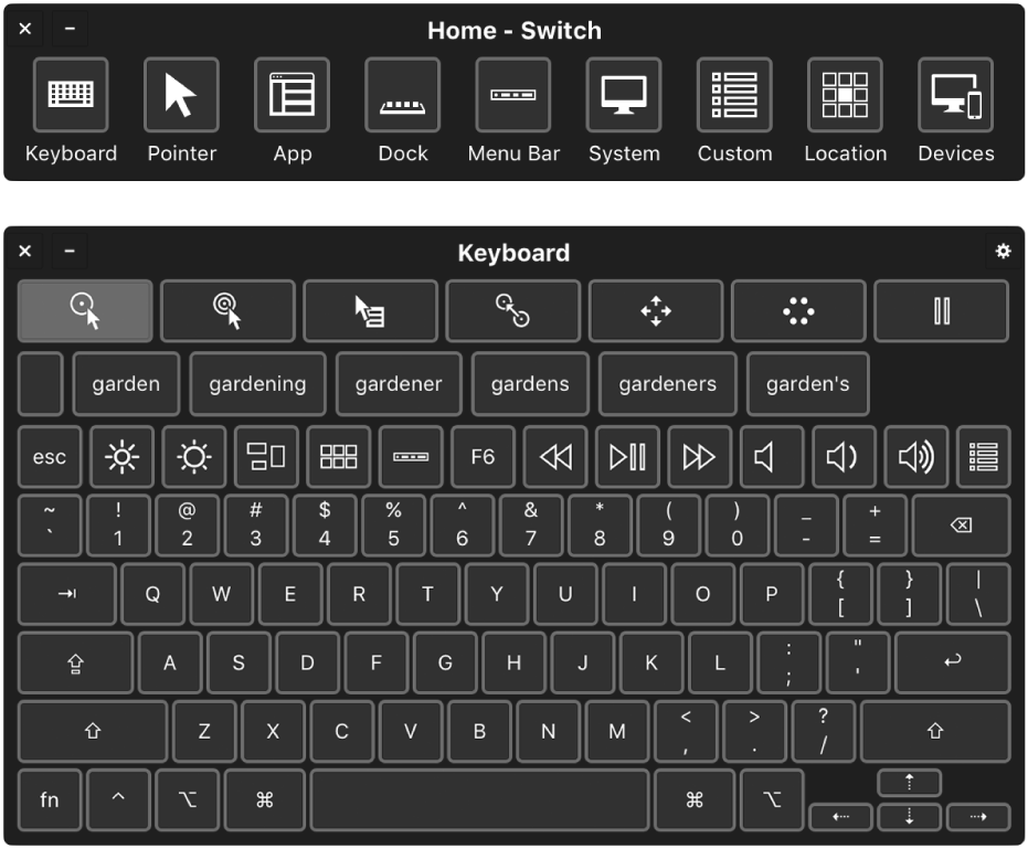 The Switch home panel and the onscreen Accessibility Keyboard.