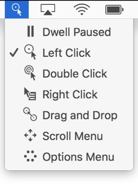 De menuopties van het statusmenu van Stilhoudbediening, met van boven naar beneden: 'Stilhouden gepauzeerd', 'Klik links', 'Klik dubbel', 'Klik rechts', 'Sleep en zet neer', 'Scrolmenu' en 'Optiemenu'.