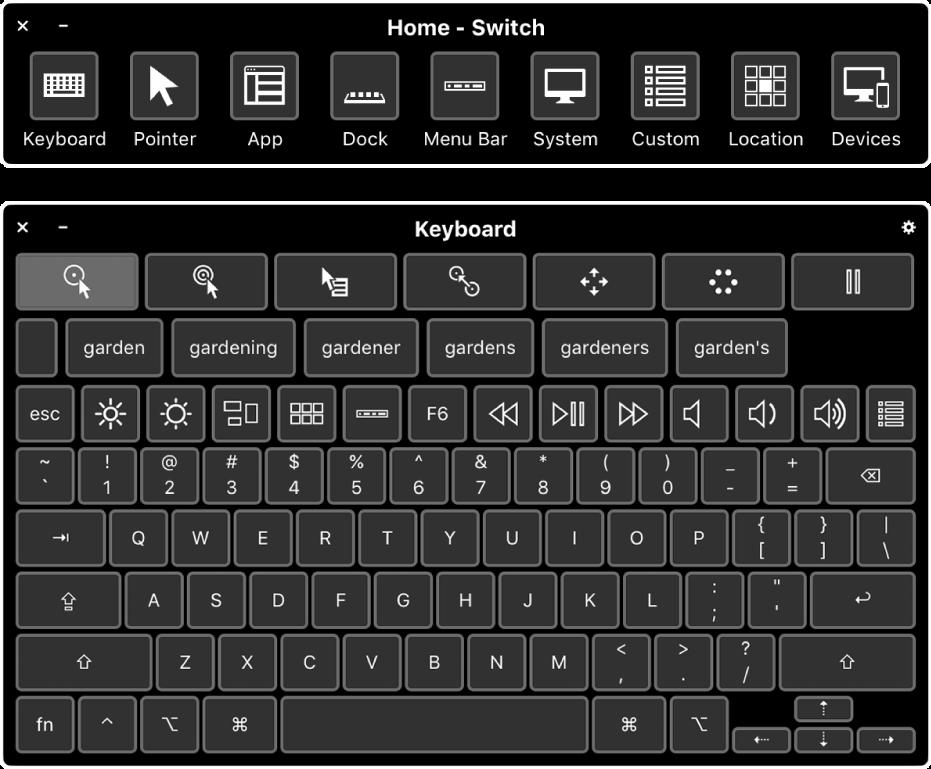 Het startpaneel van Schakelbediening en het toegankelijkheidstoetsenbord op het scherm.