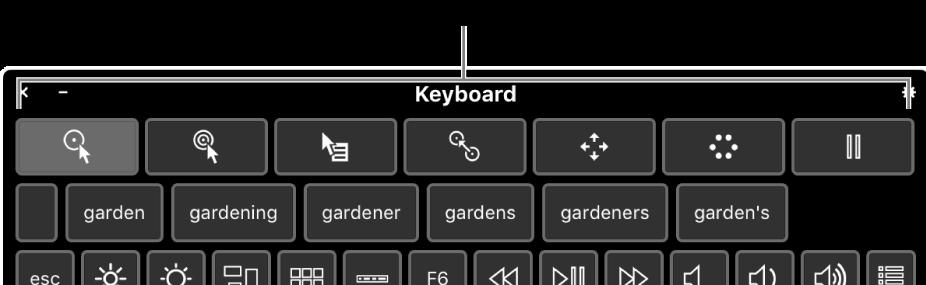 Przyciski funkcji zatrzymania widoczne na górze klawiatury dostępności.