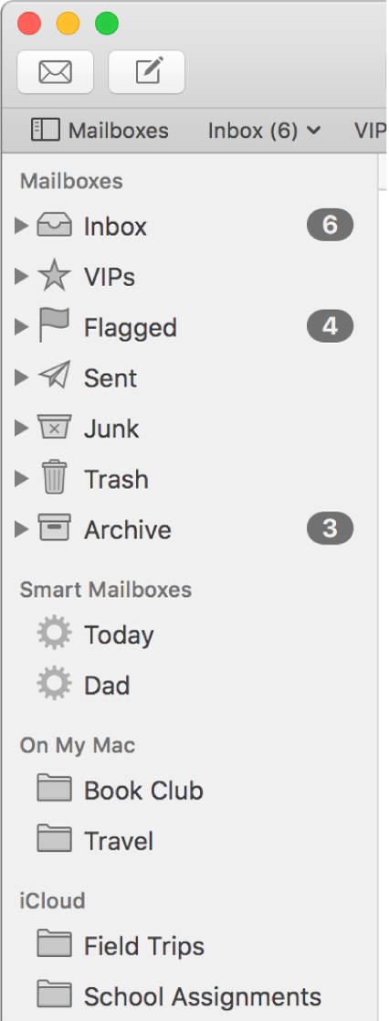 """الشريط الجانبي للبريد وتظهر به صناديق البريد القياسية (مثل صندوق الوارد والمسودات) في أعلى الشريط الجانبي، وصناديق البريد التي أنشأتها في قسمي """"على Mac الخاص بي"""" و""""iCloud""""."""