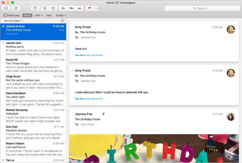Το παράθυρο του Mail που εμφανίζει τη λίστα μηνυμάτων και ένα μήνυμα με εικόνες στην περιοχή προεπισκόπησης.