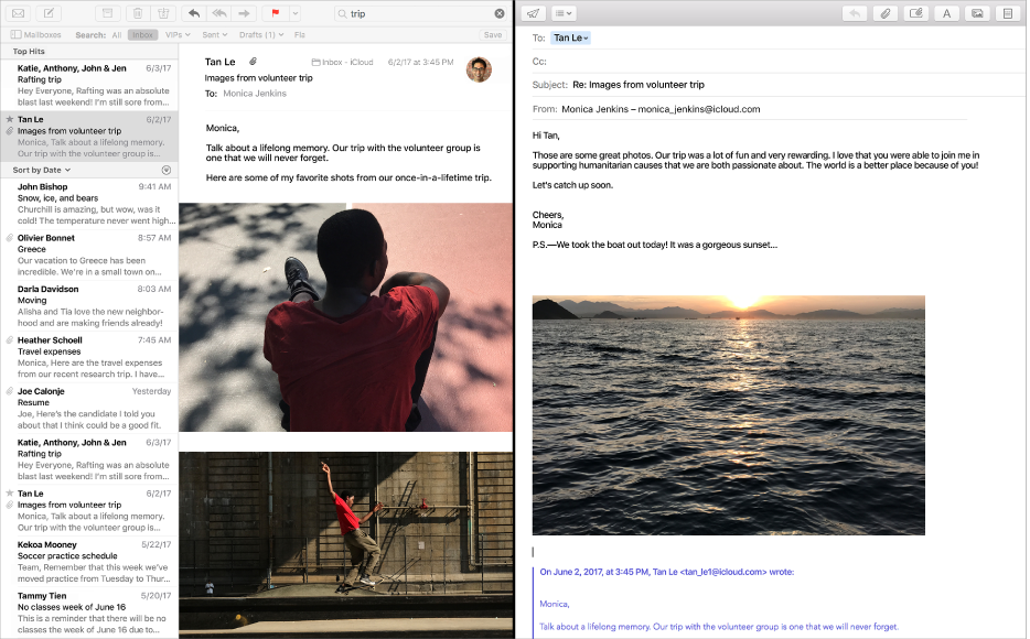 Το Mail σε Split View που εμφανίζει το παράθυρο του Mail με τη λίστα μηνυμάτων δίπλα στο παράθυρο σύνθεσης.