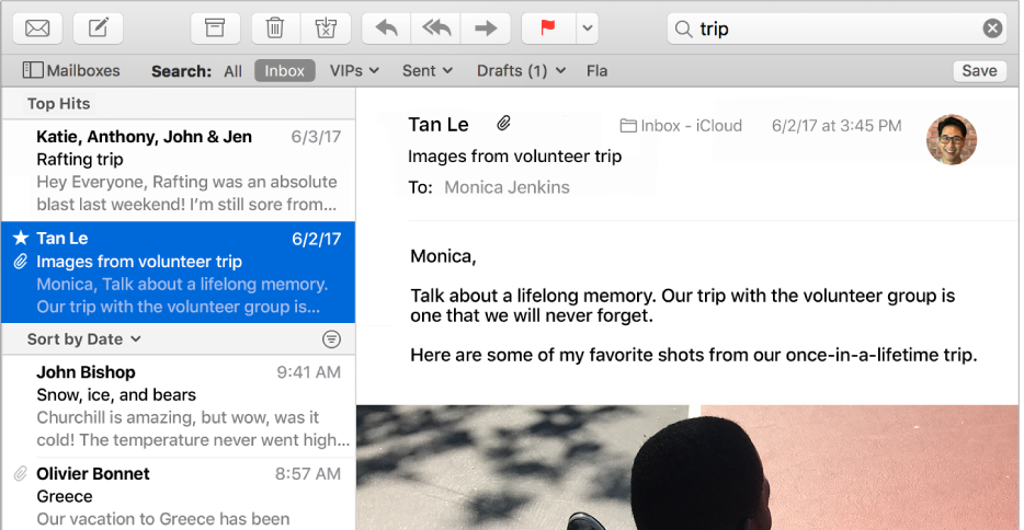 "The Mail window with ""trip"" in the search field and Top Hits at the top of the search results in the message list."