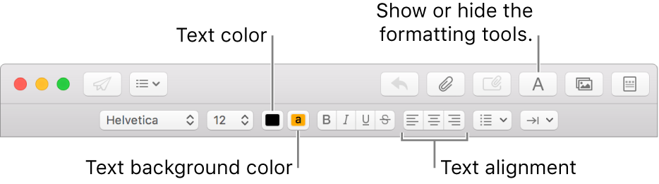 The toolbar and formatting bar in a new message window indicating the text color, text background color, and text alignment buttons.