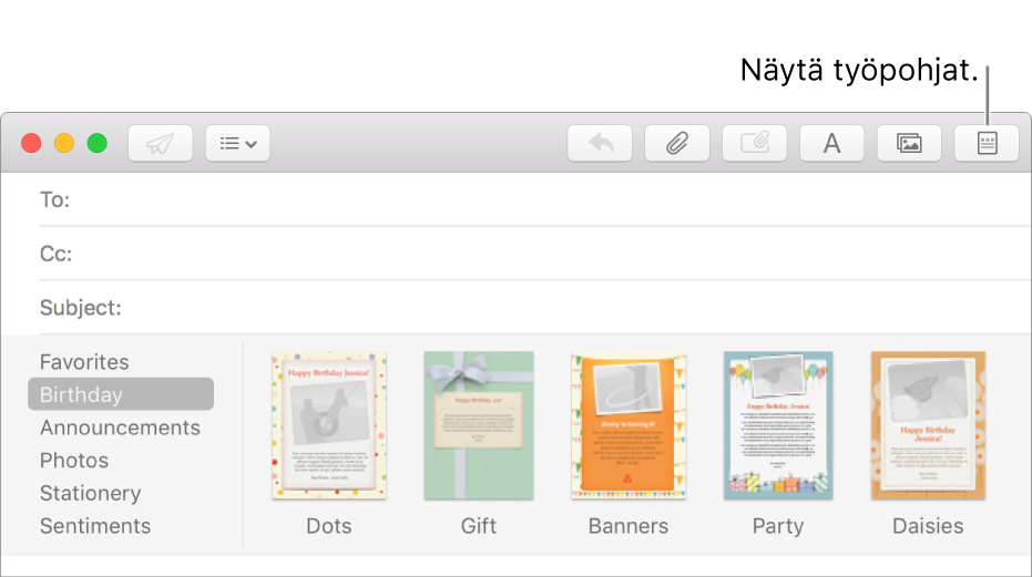 Voit tuoda työpohjat, kuten Syntymäpäivän, näkyviin klikkaamalla uuden viestin oikeassa yläkulmassa olevaa Työpohjat-painiketta.