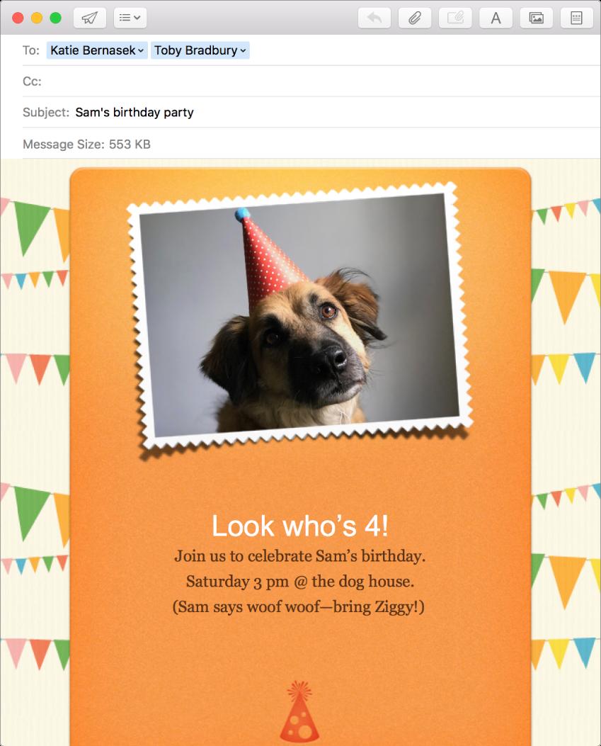 「メール」の作成ウインドウ。ひな形と写真を使った新規メッセージが表示されています。