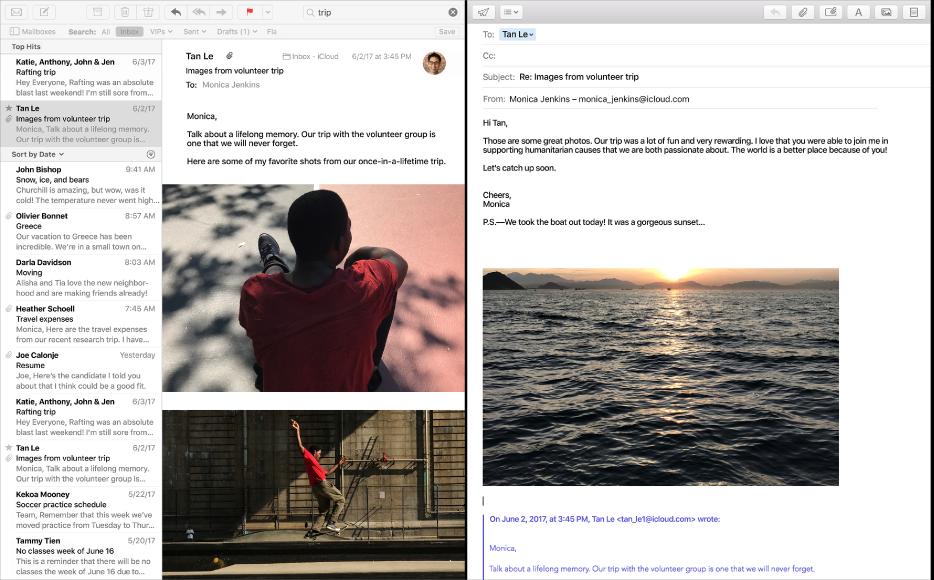 Aplikacja Mail wwidoku Split View oraz okno Mail zlistą wiadomości, aobok okno redagowania wiadomości.