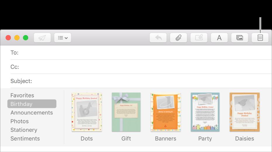 """Clique no botão """"Papel de carta"""" no canto superior direito de uma nova mensagem para mostrar modelos de papel de carta como Aniversário."""