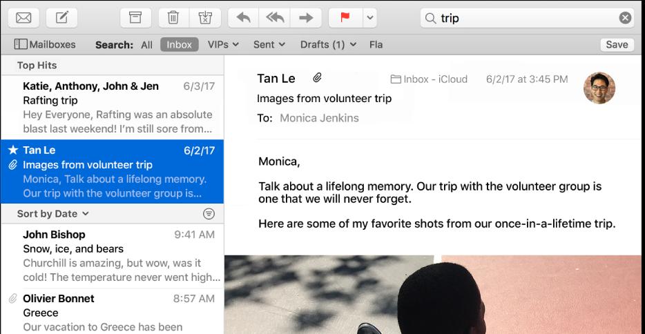 """Okno aplikácie Mail so slovom """"výlet"""" vo vyhľadávacom poli aNaj výsledky vhornej časti výsledkov vyhľadávania vzozname správ."""