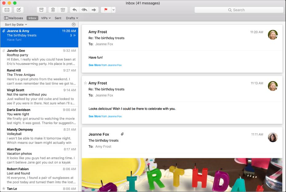 Okno aplikácie Mail zobrazujúce zoznam správ asprávu sobrázkami voblasti náhľadu.