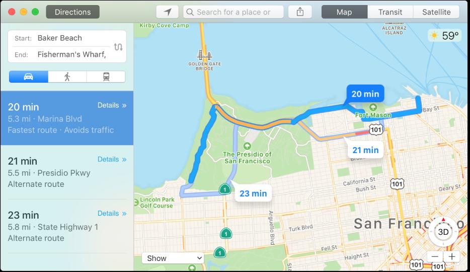 Okno aplikace Mapy se zobrazenou trasou do určitého cílového místa