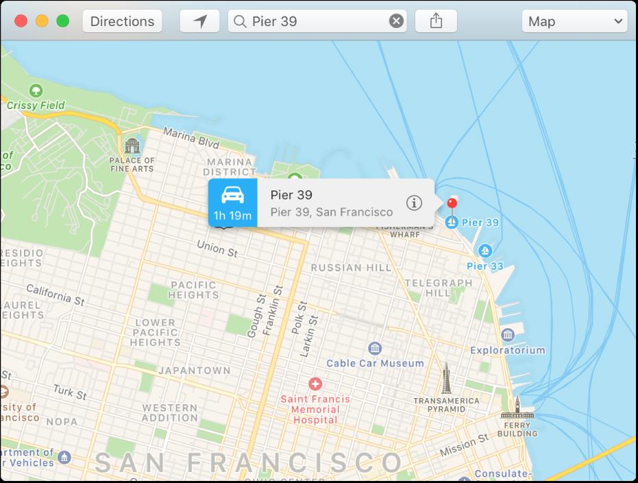 หน้าต่างข้อมูลสำหรับหมุดบนแผนที่ ซึ่งแสดงที่อยู่ของตำแหน่งที่ตั้งและเวลาเดินทางโดยประมาณจากตำแหน่งที่ตั้งของคุณ