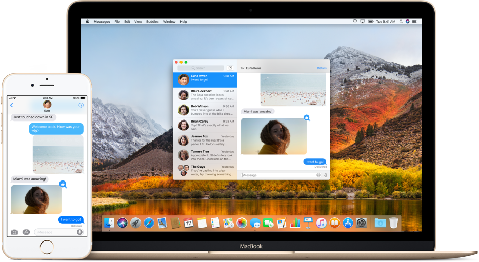 En iPhone ved siden av en Mac med Meldinger åpent på begge enhetene som viser samme meldingssamtale.
